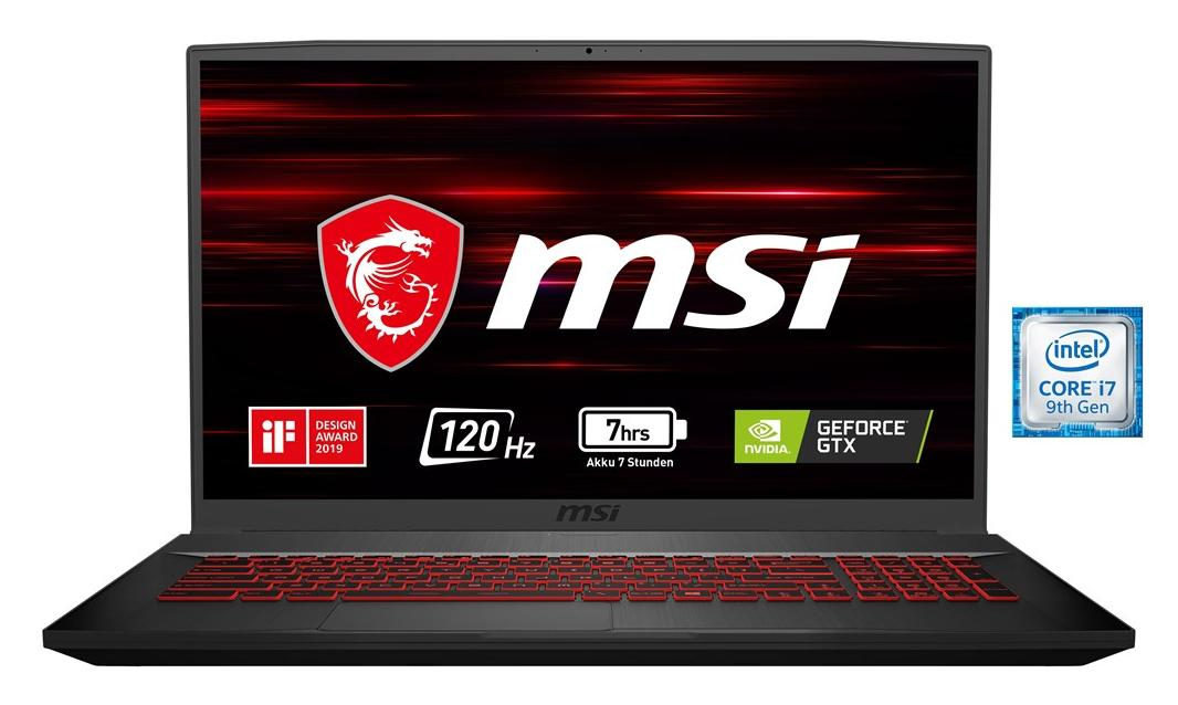 MSI GF75 9SD-056 Thin Notebook, 17.3 Zoll Full-HD, Intel Core i7-9750H, 16GB RAM, 512GB SSD, GeForce GTX 1660Ti 6GB, ohne Betriebssystem