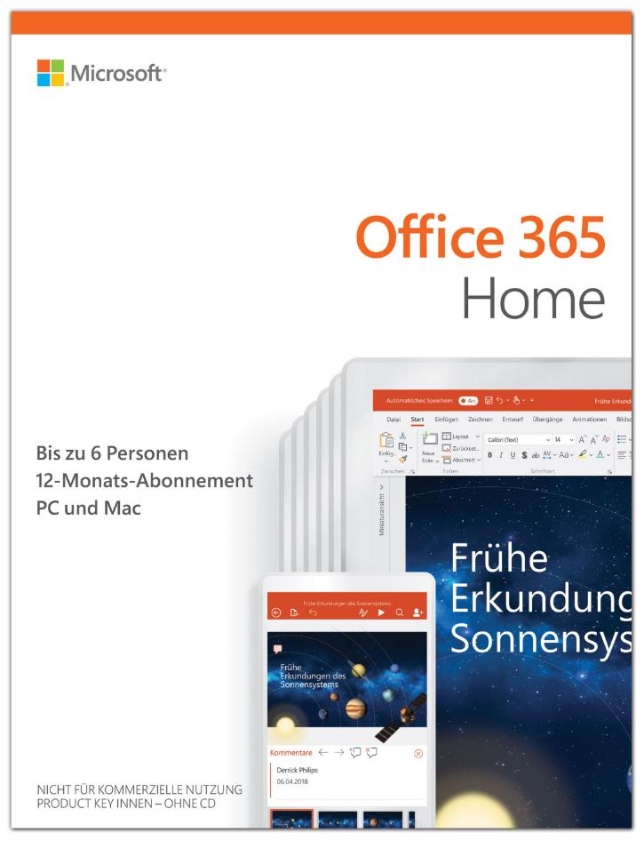 Microsoft Office 365 Home [6 Benutzer, 1 Jahr] - Word, Excel, PowerPoint, OneNote, Outlook, Access