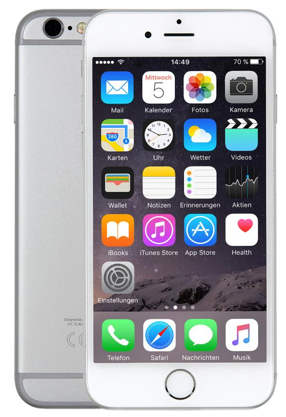 Apple iPhone 6s 16GB Silber CPO EU [11,94cm (4,7 Zoll) Retina HD Display, iOS 10, A9, 12MP, 3D-Touch]