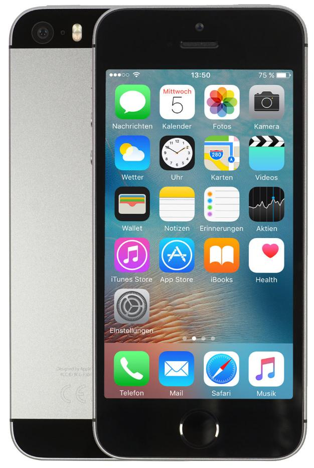 Apple iPhone SE 128GB Space Grau EU CPO [10,16cm (4 Zoll) Retina Display, iOS 10, A9, 12MP]