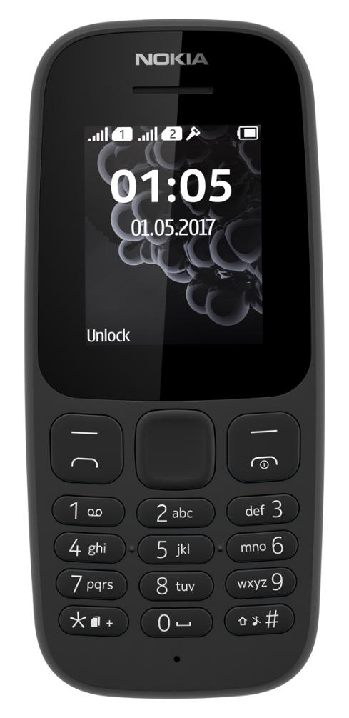 Nokia 105 (2017) Dual-SIM Schwarz [4,6cm (1,8) TFT Display,  Series 30+]