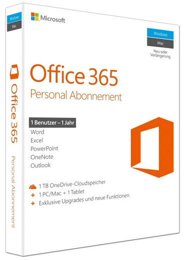Microsoft Office 365 Personal [1 PC/Mac + 1 Tablet, 1 Jahr] - Word, Excel, PowerPoint, OneNote, Outlook, Publisher, Access