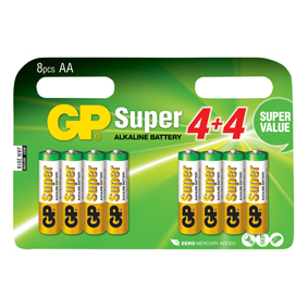 GP Batteries Alkaline Batterie AA 1.5 V Super 8-Werbeblister