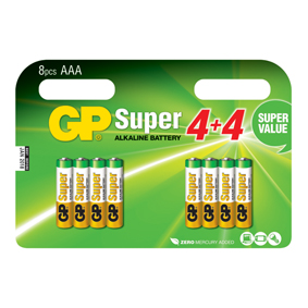 GP Batteries Alkaline Batterie AAA 1.5 V Super 8-Werbeblister