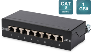Digitus CAT.6  Patchpanel,  8xRJ45 STP