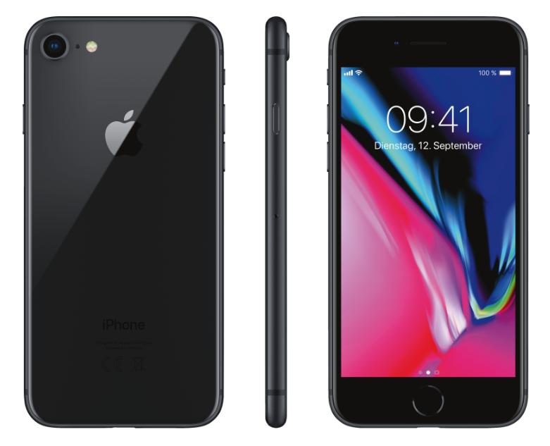 Apple iPhone 8 64GB Space Grau [11,94cm, 4,7 Zoll Retina HD Display, iOS 11, A11 Bionic, 12MP]