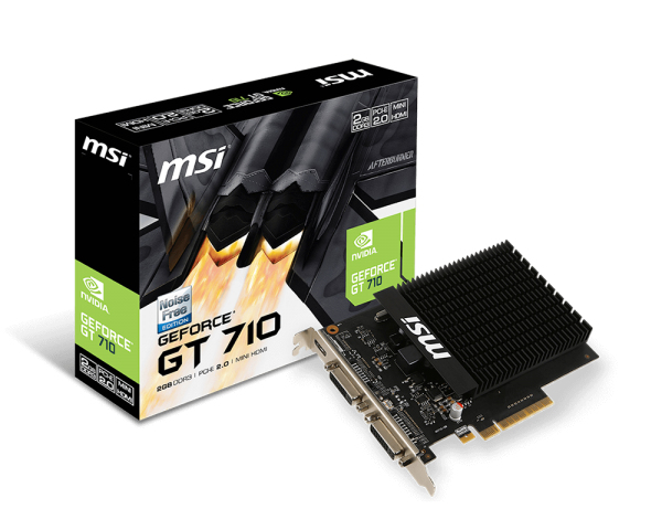 MSI GeForce GT 710 2GD3H H2D 64 Bit 2GB DDR3 Mini HDMI , DL-DVI-I /SL-DVI-D