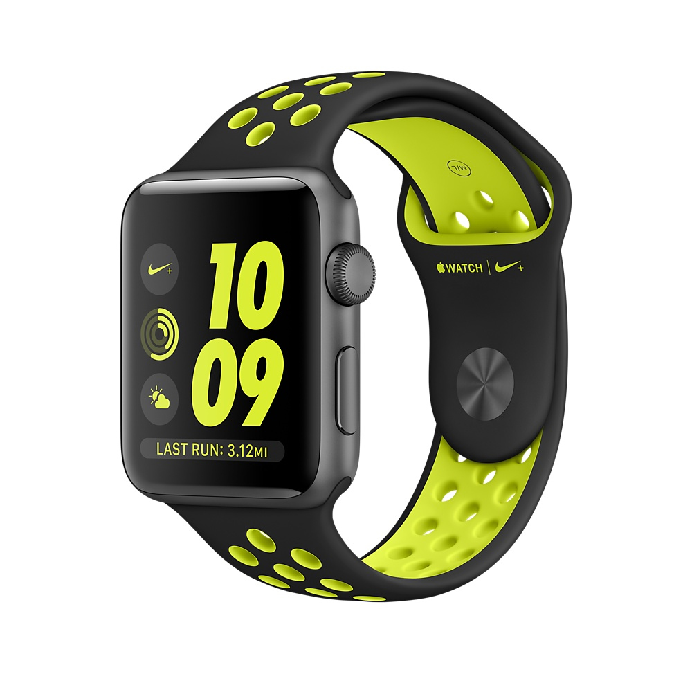 Apple Watch Nike+ 42mm Space Grau Aluminiumgehäuse, mit Nike Sportarmband, Black/Volt