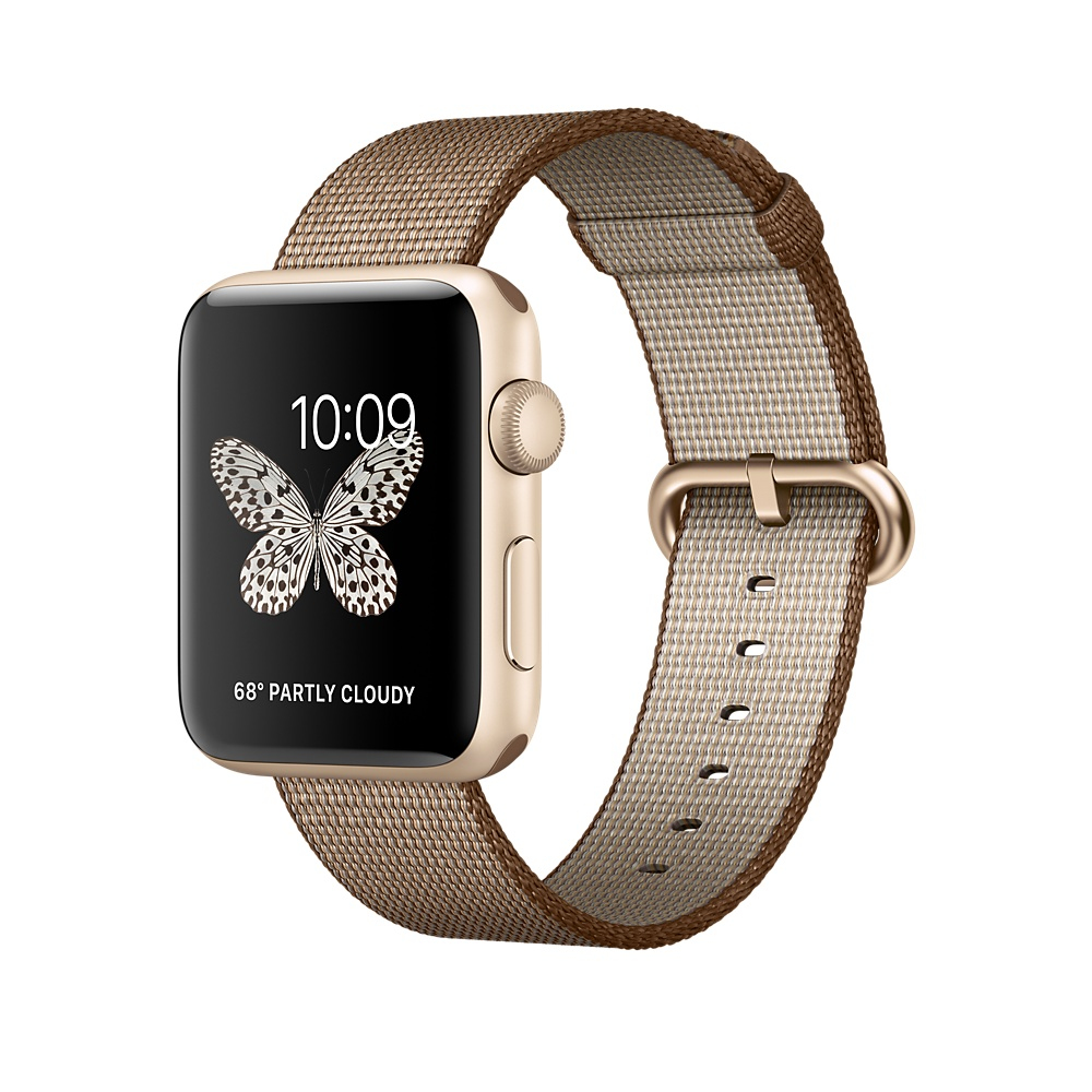 Apple Watch Series 2 42mm Aluminiumgehäuse Gold mit Armband Nylon Kaffee/Karamell