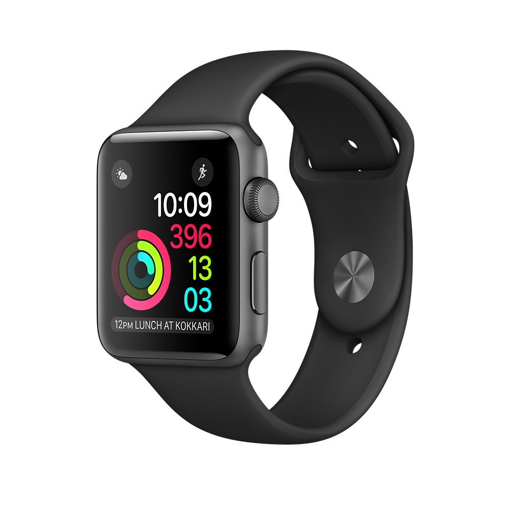 Apple Watch 2 38mm Grey Alu Case with Black Sport Band