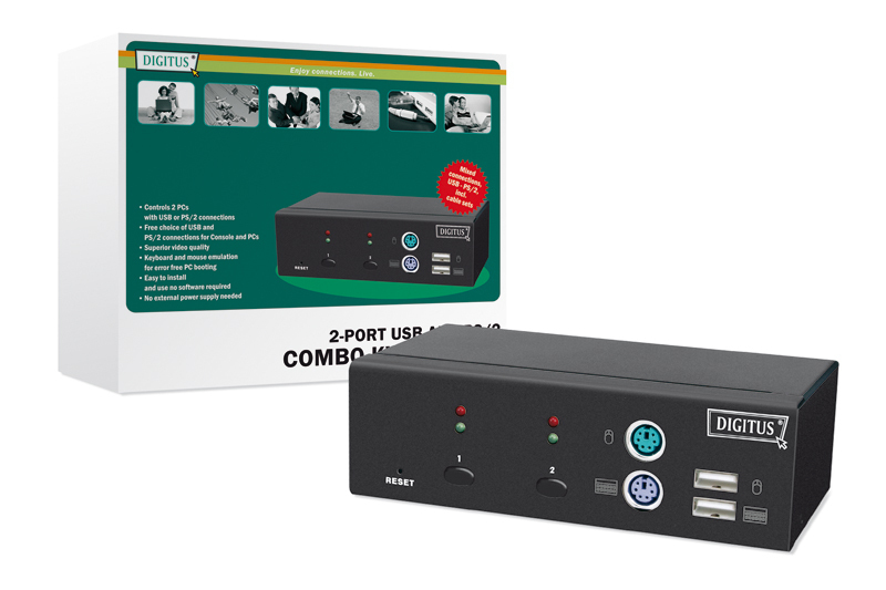Digitus KVM-Switch 1 User -> 2 PCs (je PS/2 oder USB)