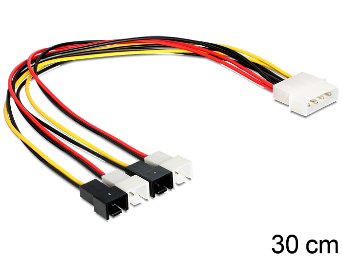 DeLock Kabel Power Molex 4 Pin Stecker > 4x 2 Pin Stecker Lüfter