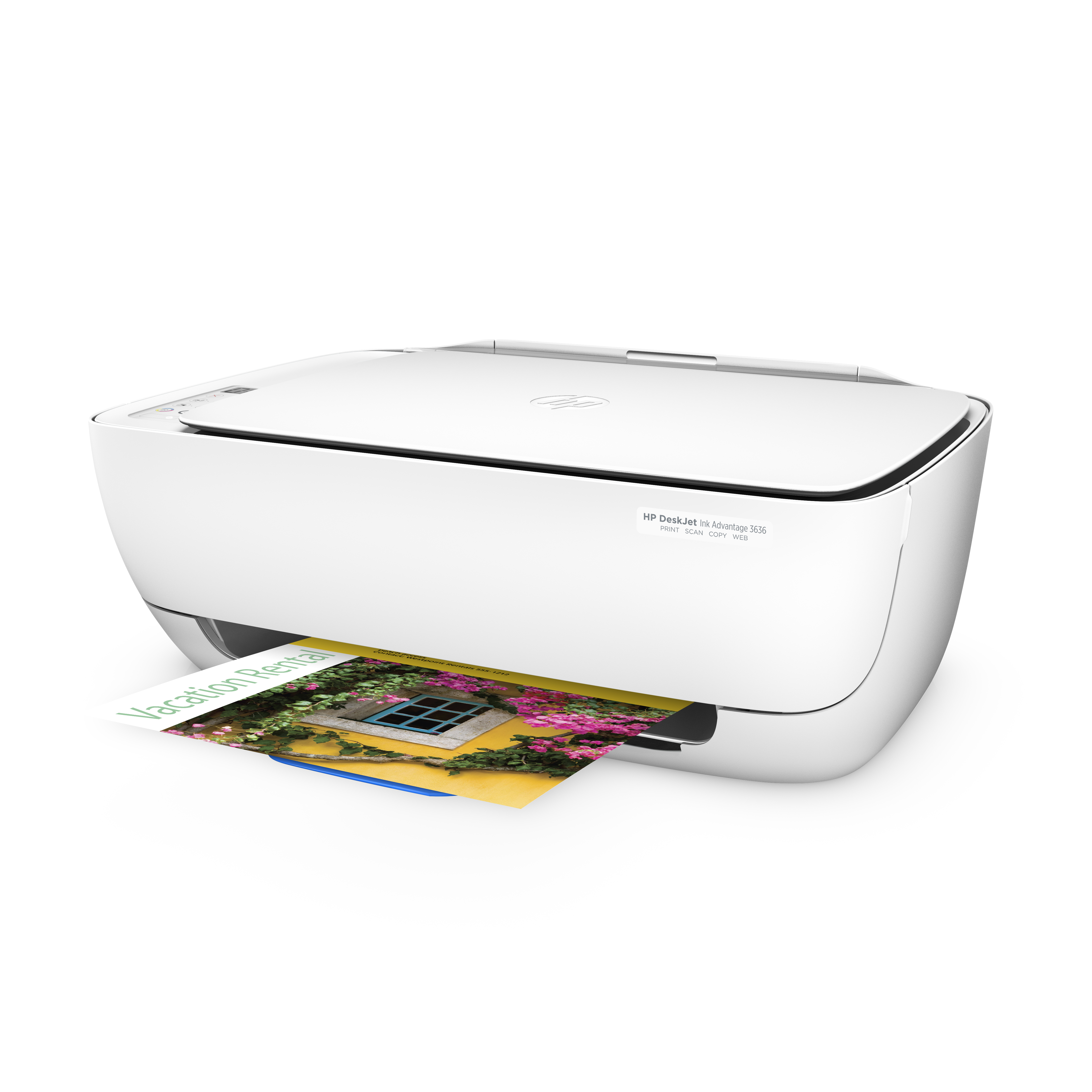 Hewlett Packard (HP) Deskjet 3636 Multifunktionsdrucker (A4, WLAN Drucker, Scanner, Kopierer,  Instant Ink ready, Apple AirPrint, ePrint, USB, 4800 x 1200 dpi) weiß