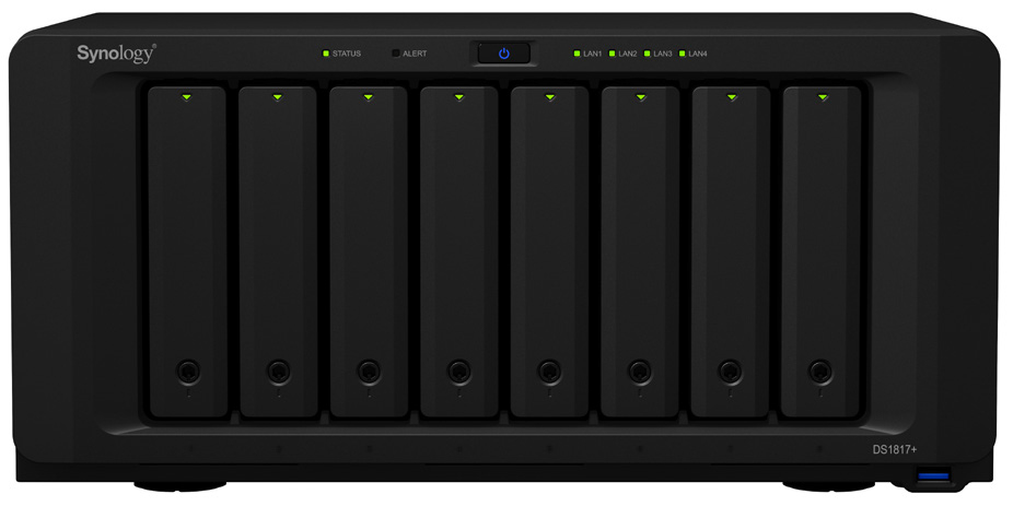 Synology DS1817+ (2GB) 8-Bay NAS-Gehaeuse 2,4GHz CPU 2GB up to 16 GB DDR3 4xUSB3 4x 1GbE RJ45 10GbE ready 2xeSATA