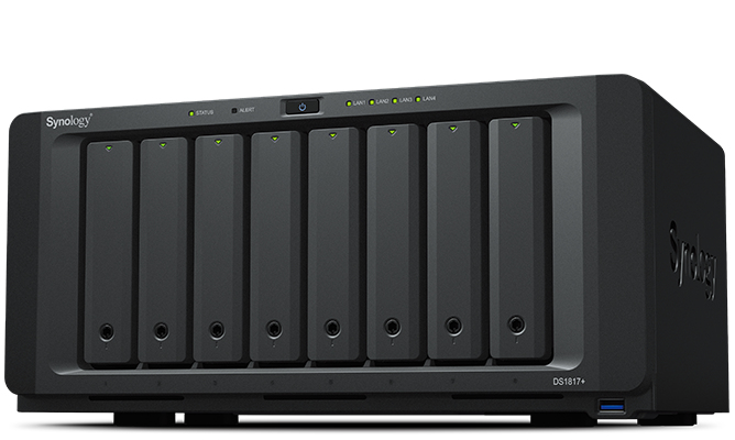 Synology DS1817+ (8GB) 8-Bay NAS-Gehaeuse 2,4GHz CPU 2GB up to 16 GB DDR3 4xUSB3 4x 1GbE RJ45 10GbE ready 2xeSATA