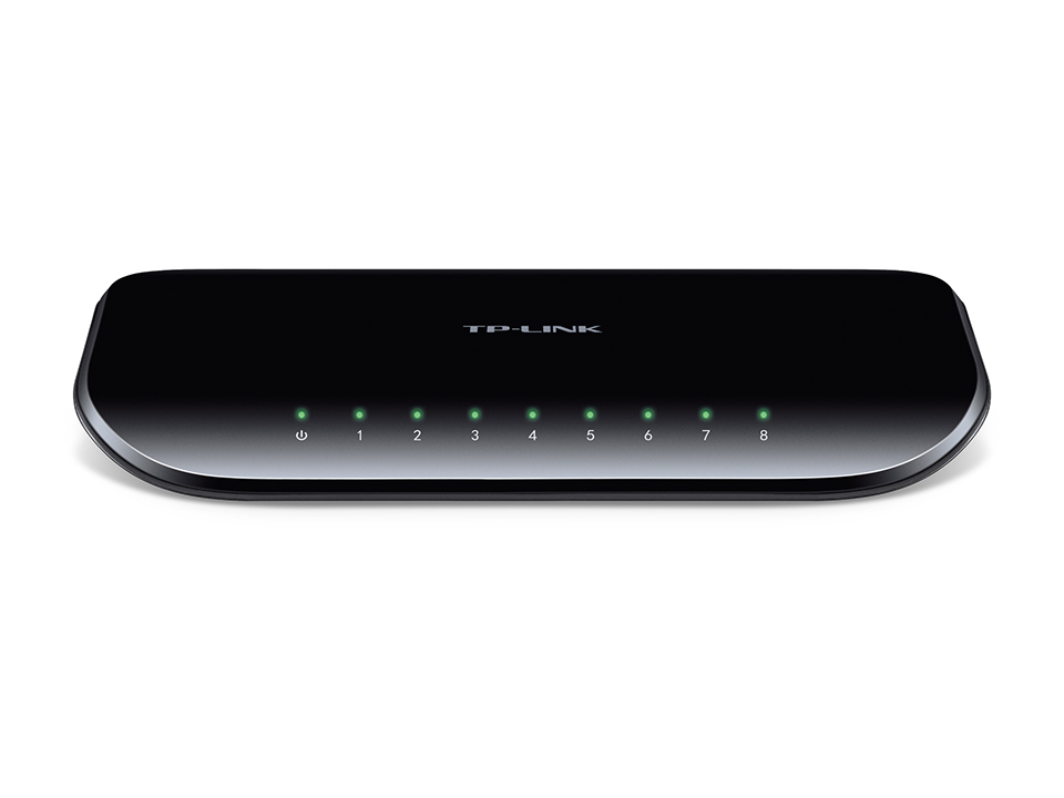 TP-Link 8-Port-Gigabit-Desktop-Switch - 8x 10/100/1000MBit/s-RJ45-Ports - Kunststoffgehaeuse (neues Design) - V6.0