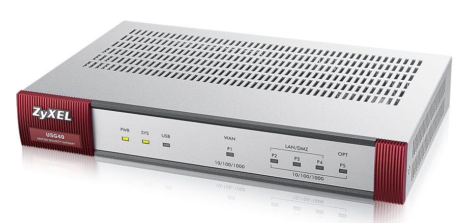 Zyxel USG 40 UTM Bundle Firewall Appliance 10/100/1000, 1 WANs, 3 LAN , DMZ, 1 OPT  Port, inkl. UTM Bundle alle Lizenzen 1YR