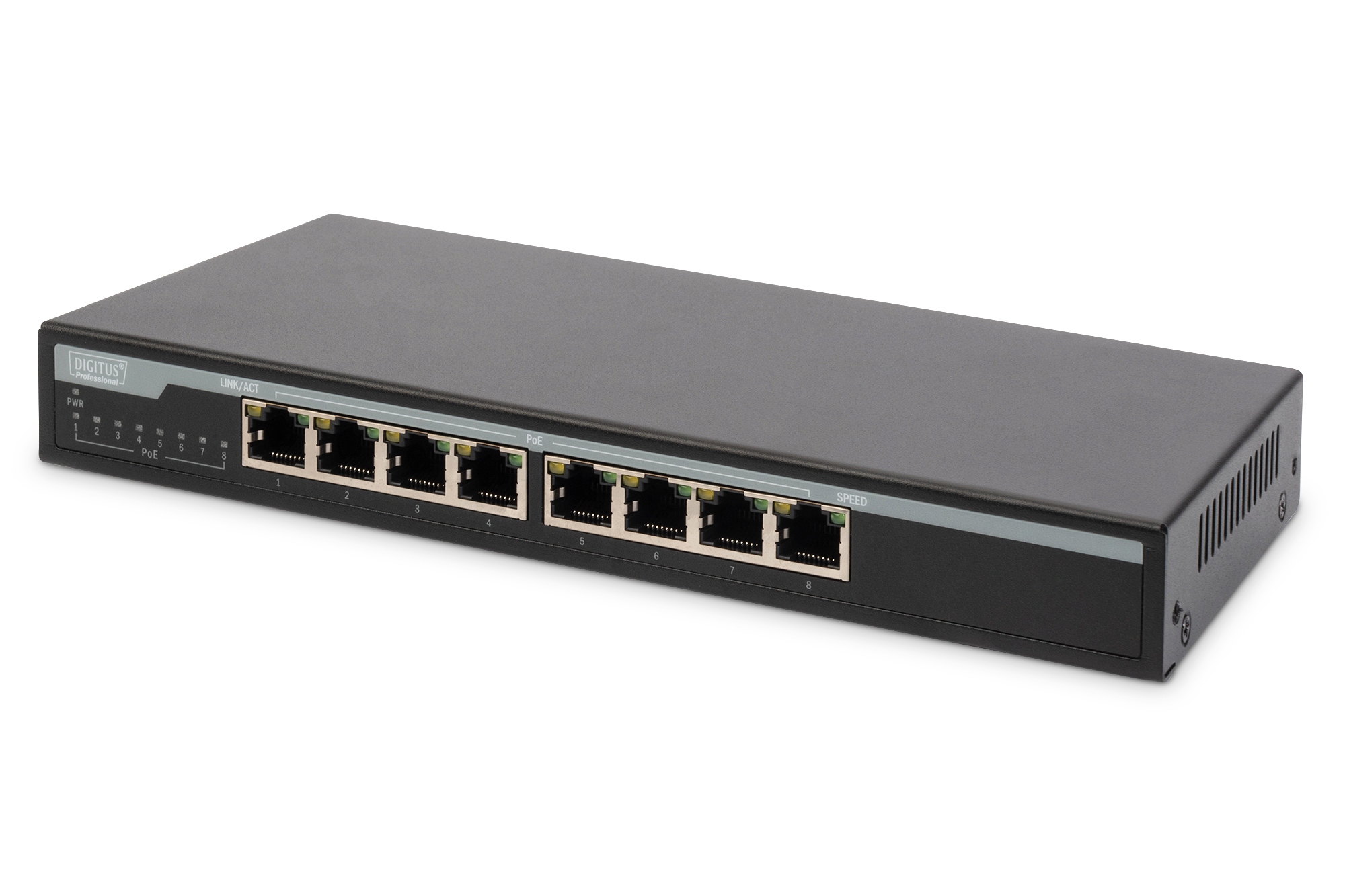 Digitus 8-Port 10/100/1000 Mbps PoE Gigabit Deskto