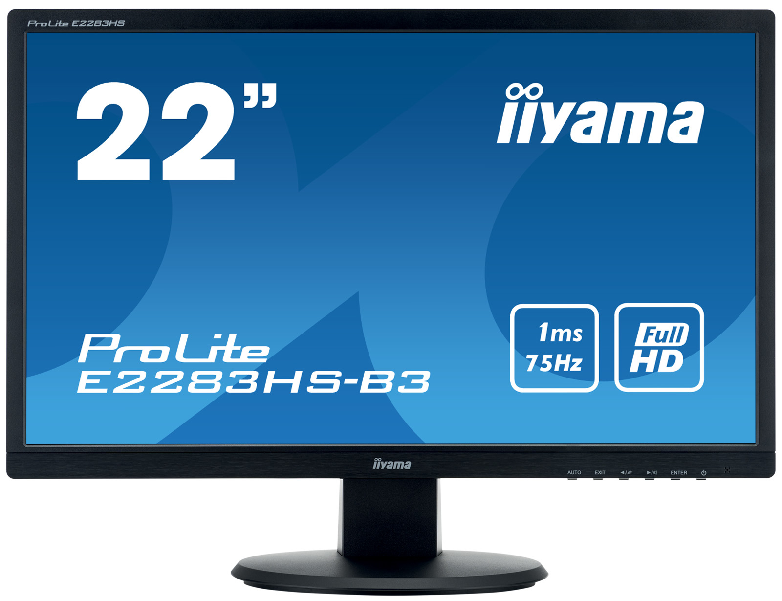 Iiyama ProLite E2283HS-B3 54,7cm 21,5Zoll 16:9 FHD LED-backlit monitor 1ms 12000000:1 250cd/m2 1000:1 VGA DisplayPort HDMI