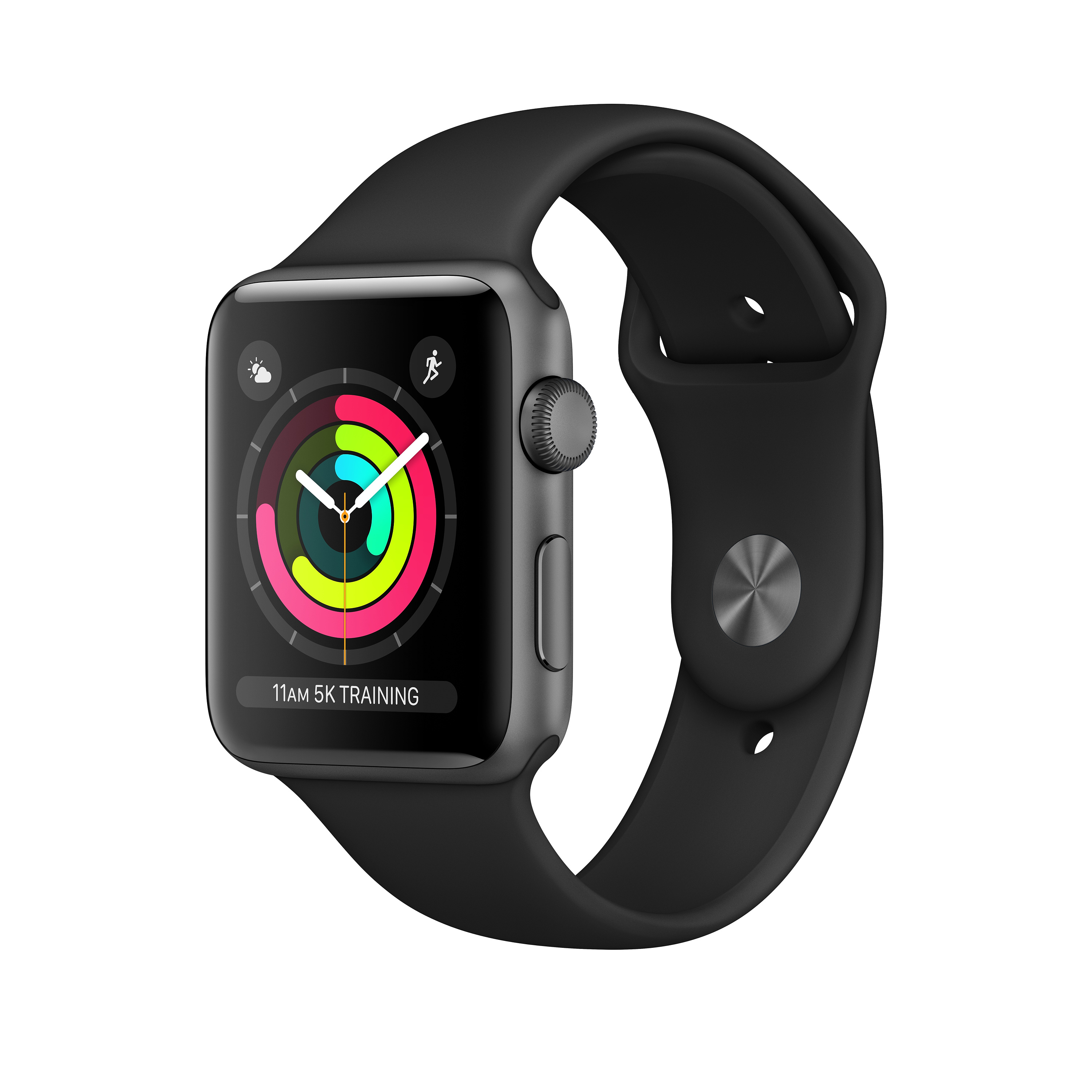 Apple Watch Series 3 GPS, Aluminium space grau, 42 mm mit Sportarmband, schwarz